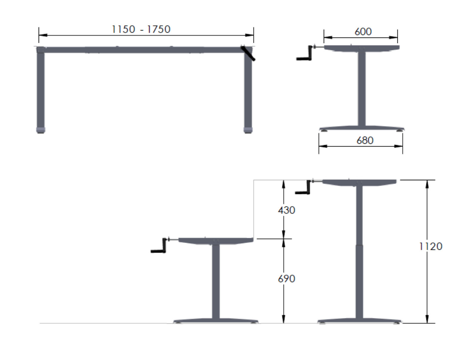 Crank Type Free Standing Height Adjustable Table Dimension