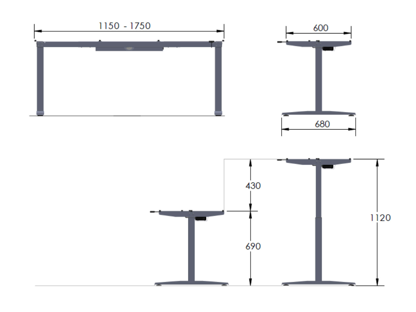 Motorize Type Free Standing Height Adjustable Table Dimension