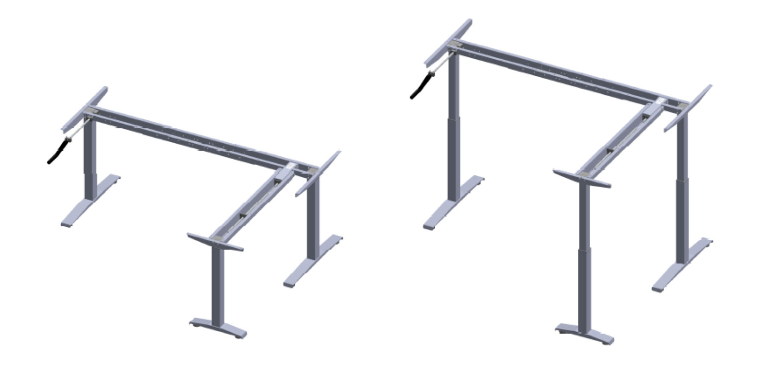 Crank Type L Shaped Height Adjustable Table